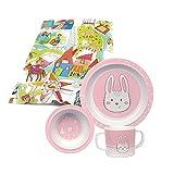 Sigikid Melamin Kindergeschirr Taufgeschenk Geschenk zur Geburt Taufe ersten Geburtstag Geschirr (Hase rosa 3-teilig)