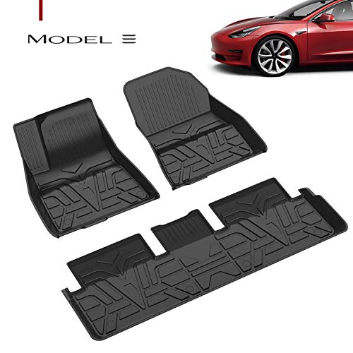 Farasla All Weather Floor Mats for Tesla Model 3 - Durable Flexible Odorless TPE Material - Non-Slip Protective Cover - Compatible with 2017 2018 2019 2020 Models(Set of 3)