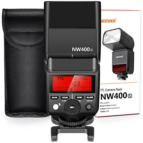 Neewer 2,4G HSS 1/8000s TTL Flash Maestro Esclavo Inalámbrico Speedlite para Sony a9 a7III a7RIII a7II a7RII a7SII a7R a7S a6500 a6300 a6000 a77II RX10II/III/IV con Difusor NW400S