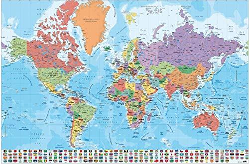 Close Up Póster Mapa del Mundo con Banderas y Leyenda - Versión en Español (91,5cm x 61cm) + 1 Paquete de tesa Powerstrips® (20 Tiras)