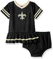 NFL New Orleans Saints Team Jersey Dress and Diaper Cover, Black/Gold New Orleans Saints, 18 Months