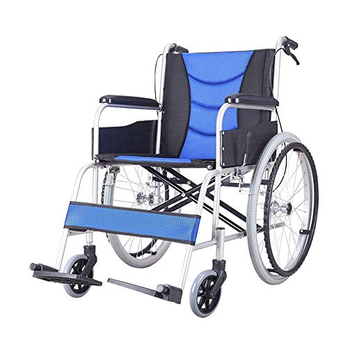 FTFTO Inicio Accesorios Ancianos discapacitados Silla de Ruedas Manual Plegable Silla de Ruedas portátil y Ultraligera Adecuado para: Ancianos discapacitados