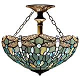 Tiffany Ceiling Fixture Lamp Semi Flush Mount Light W16H15 Inch Sea Blue Stained Glass Crystal Bead Dragonfly Shade S147 WERFACTORY Kid Living Room Bedroom Study Kitchen Island Bar Hallway Dining Room