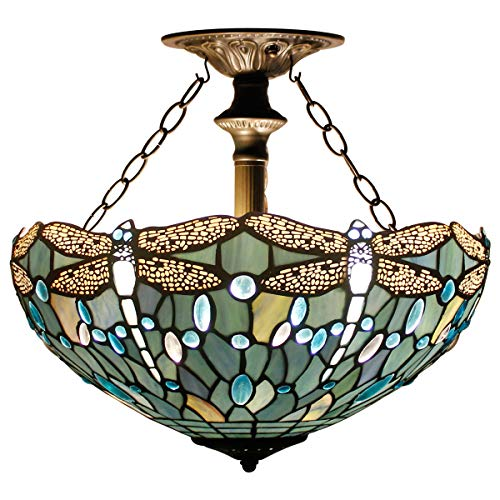 Tiffany Ceiling Fixture Lamp Semi Flush Mount Light W16H15...
