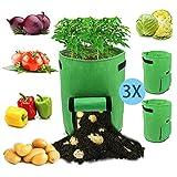 Hengda Pflanzen Tasche, Kartoffel Pflanzsack, Dauerhaft AtmungsaktivBeutel mit Fenster/Klettverschluss/Tragegriffen,3er Pack,Grün,15L/4Ga