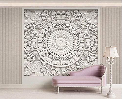 3D Wallpaper Wall Murals White Plaster Relief Pattern Cloth Bedroom Living Room Tv Background Wallpapers Decoration Art*200cm×140cm