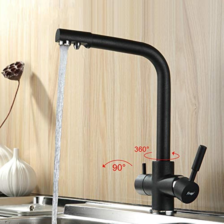 ZHUAPP Kupfer Küche Heies Und Kaltes Wasser Mischbatterie Spülbecken Wasserhahn Wasserhahn Sieben-Wort-Design 360-Grad-Drehwasseraufbereitung Wasserhahn Doppelgriff