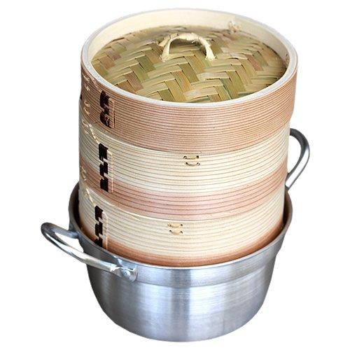 ヘルシーな蒸し鍋や蒸し寿司、温野菜が美味しく簡単にできる♪杉蒸籠(セイロ)15cm2段鍋つきセット
