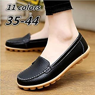 New Vintage Women Flats Genuine Leather Shoes Woman Candy Color Boat Shoes Breathable Fashion Flat Shoes Tenis Moccasins,Genuine Leather Shoes Woman New Solid Slip on Boat Shoes(Light Blue,EU36US5.5)