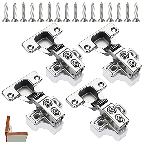 Scharniere Set mit 4 Scharniere und 4 Basispad und 16 Schrauben ,Soft Close Automatikscharnier Integrierter Dämpfung Scharniere,für Küchenschrank Kleiderschrank,einfach zu installieren