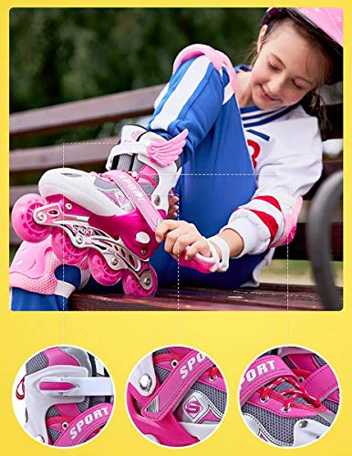 XIUWOUG LED inline skates for children, adjustable inline skates, sizes 26–41, ABEC-7 bearings, universal fitness roller skates for boys and girls, youngsters, beginners,Red,L size full set: 37_41
