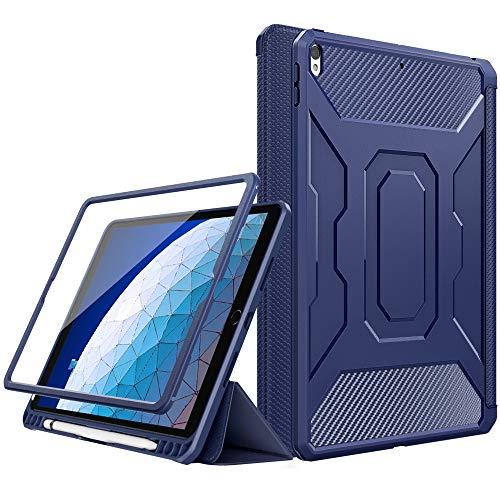 """MoKo Funda para New iPad Air (3rd Generation) 10.5"""" 2019/iPad Pro 10.5 2017, [Protector de Pantalla Incorporado] Cubierta Anti-Rasguños con Auto Estela/Sueño y Soporte de Pencil - Azul"""