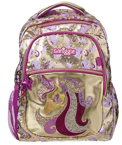 Smiggle Gold Kids School Backpack for Boys and Girls with Laptop Compartment and Dual Drink Bottle Sleeves | Unicorn Print