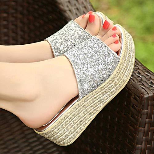 ypyrhh Sandalias Moda Casual,Sandalias de Pendiente, Lentejuelas, Sandalias, Zapatos-Silver_35,Lino Zapatillas Interior Sandalias