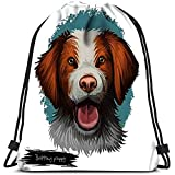 AllenPrint Bolsas De Cuerdas,Bretaña Cachorro Raza De Perro Mascota Francesa Animal Doméstico Criado como Gundog Bolsas De Mochila De Yoga Adecuadas para Adolescentes Camping Escolar