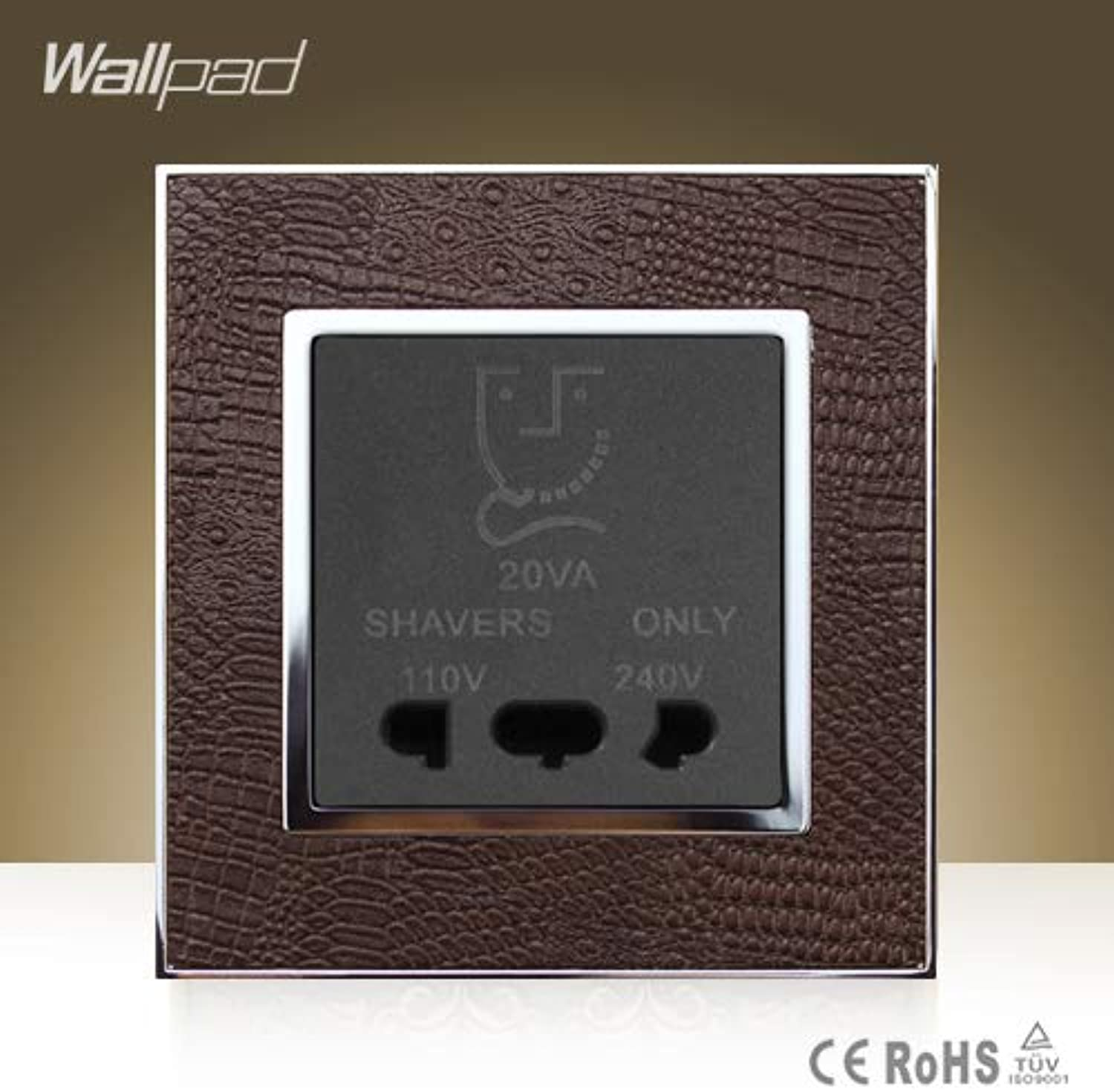 CE BS Approved Wallpad Hotel High Quality Shaver Socket Goats Brown Leather Beard Shaver Power Charger Socket