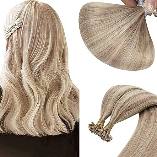 Sunny U Tip Hair Extensions Human Hair,#18/613 Ash Bonde Highlight Blonde Platinum Blonde U Tip Keratin Human Hair Extensions Real Remy Straight Hair 1g/s 50g/pack 18inch
