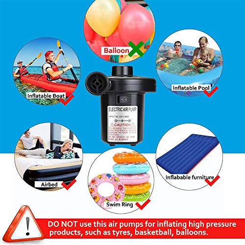 Electric Air Pump Air Mattress Portable Pump with 3 Nozzles, 110V AC/12V DC, Perfect Inflator/Deflator Pumps for Outdoor Camping, Inflatable Cushions, Air Mattress Beds, Boats, Swimming Ring