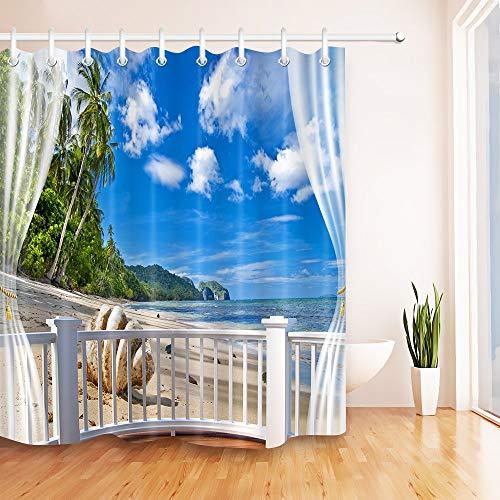 LB Playa Tropical Cortinas de baño Paisaje Marino con Palmeras Cielo Azul y Nube Blanca Largas Resistente al Agua Antimoho Tejido de Poliéster Decoración de Baño,150X180CM