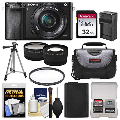 Sony Alpha A6000 Wi-Fi Digital Camera & 16-50mm Lens (Black) with 32GB Card + Case + Battery/Charger + Tripod + Filter + Tele/Wide Lens Kit