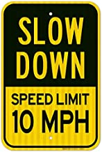 Slow Down Sign, Speed Limit 10 MPH Sign, Large 12x18 3M Reflective (EGP) Rust Free .63 Aluminum, Weather/Fade Resistant, Easy Mounting, Indoor/Outdoor Use, Made in USA by Sigo Signs