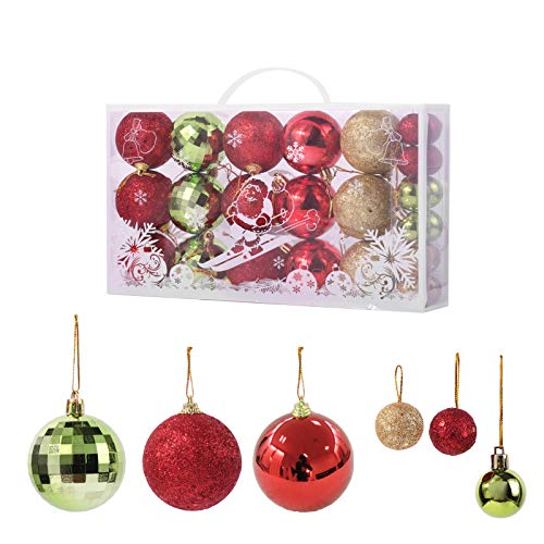 TWBB 27ct Christmas Balls Xmas Balls Big Christmas Ornaments for Christmas Tree Xmas Tree Decorations,2.36' and 1.17' (Red&Green)