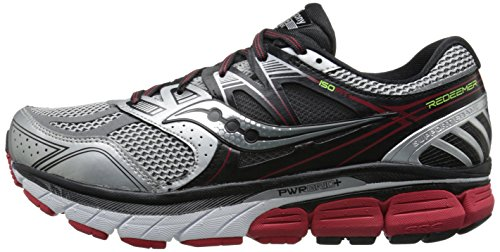 Saucony Men's Redeemer ISO Running Shoe, Silver/Black/Red,11 W US