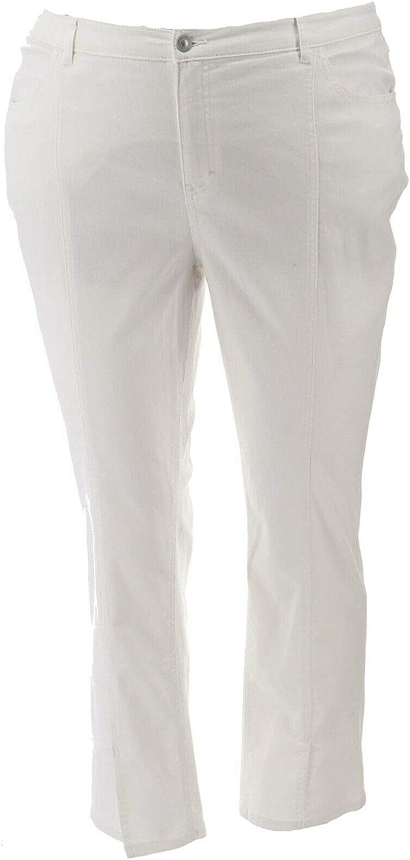 Lisa Rinna Collection White Denim Jeans Seam White Denim 22W New A366189