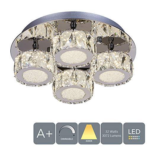 Aurolite Polo-tafelkleed, modern, dimbaar, kristal, 32 W, 3000 K, 3072 lumen, gepolijst chroom achterplaat, ideaal voor de hal, eetkamer, woonkamer (4 lampen, warmwit)