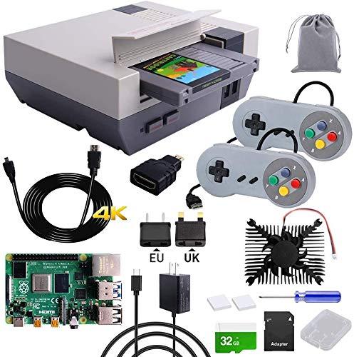 owootecc RETROFLAG NESPi 4 Caja con Raspberry Pi 4 4GB, SSD, USB cable juego Contoller, tarjeta SD de 32 GB, ventilador de enfriamiento, adaptador micro HDMI, para Raspberry Pi 4