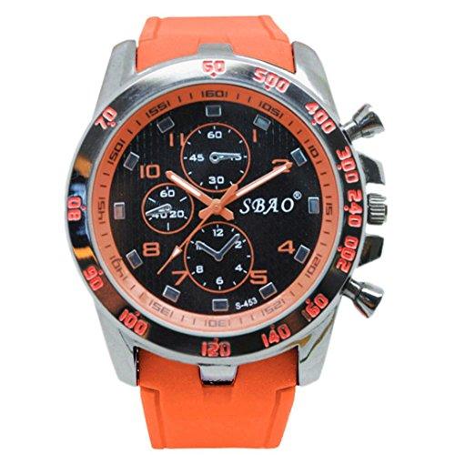 LANSKIRT Uhren Herren Voller Edelstahl Wasserdicht Analoger Quarzwerk Uhr Männer Luxusmarke Mode Lässig Herren Auto-Kalender Geschäft Kleid Armbanduhr Maenner (Orange)