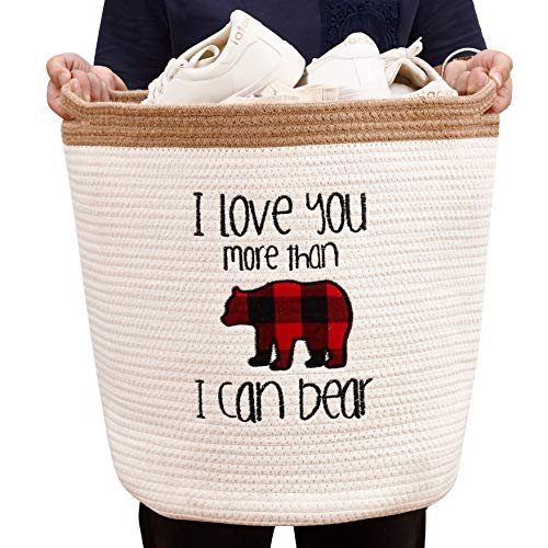 """DECOMOMO Bear Cotton Rope Storage Basket  Woven Décor Blanket Hamper with Handles  Great for Living RoomNurseryLaundryToysPillowsThrowTowelsGift White Bear Large 16"""""""