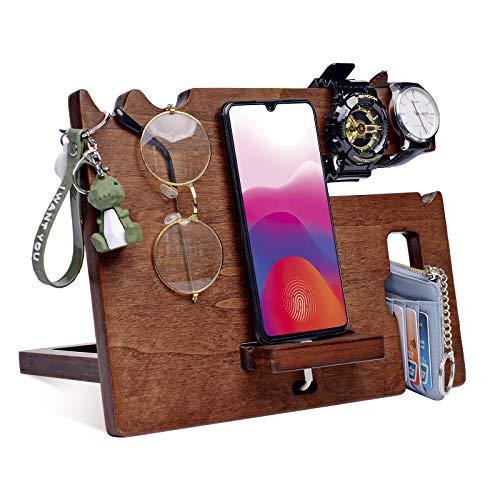 Prezenty dla mężczyzn, tajemniczy Mikołaj prezenty drewniany telefon stacja dokująca uchwyt na klucze męski portfel stojak zegarek okulary męskie bransoletki gadżety dla mężczyzn pudełko prezentowe pudełka do przechowywania męskie ukończenie szkoły prezenty podróżne dla ojca mężczyzn prezenty.