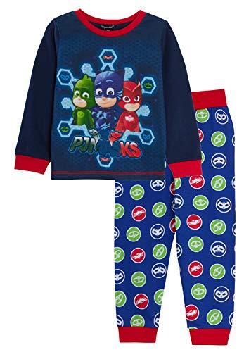 PJ Masks Schlafanzug für Jungen, volle Länge, Superhelden, 2-teiliges Pyjama-Set Gr. 3-4 Jahre, Maskenlogos.