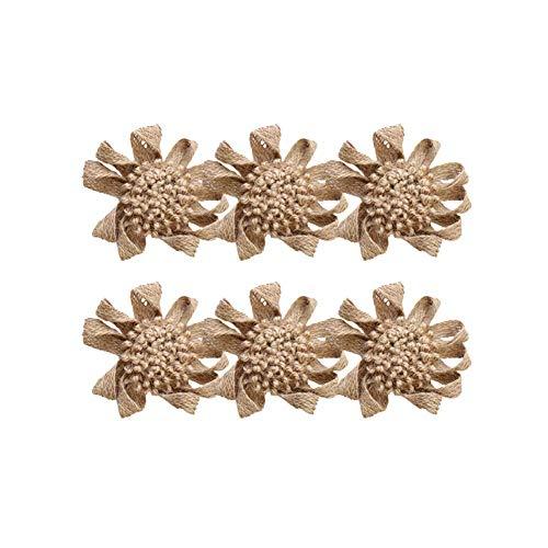6 piezas de lino de peonía DIY decoración de boda vintage hecho a mano matrimonio yute natural arpillera arpillera lazos de encaje de cinta de encaje rústico decoración accesorios duraderos y útiles