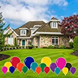 VictoryStore Yard Decorations - Accessories Outdoor Yard Signs 2 Stakes Included Per Sign (Balloons 18 Solid Color) AC6