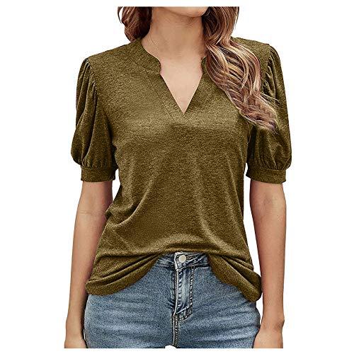 T Shirt Donna Estate Casual Manica Corta Top Puro Colore Di Base Camicetta Camicia Moda Sottile Tunica Top Scollo A V Sexy Stretch Confortevole Elegante Tee Pullover Oro XL