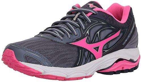 Mizuno Women's Wave Inspire 14 Running Shoe, Folkstone Gray/Pink glo, 10 B US