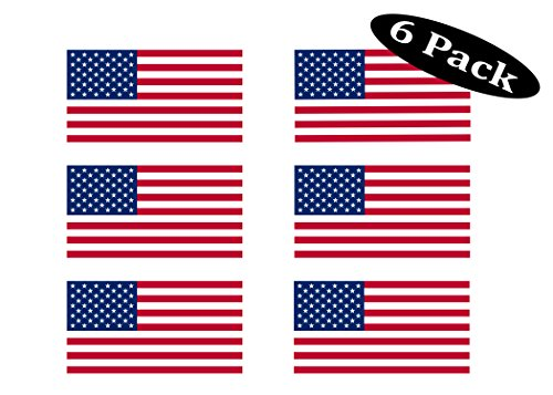 Pack of 6 USA Flag Stickers United States Work Hard Hat Biker Helmet Stickers Decals Toolbox 1'x 2'