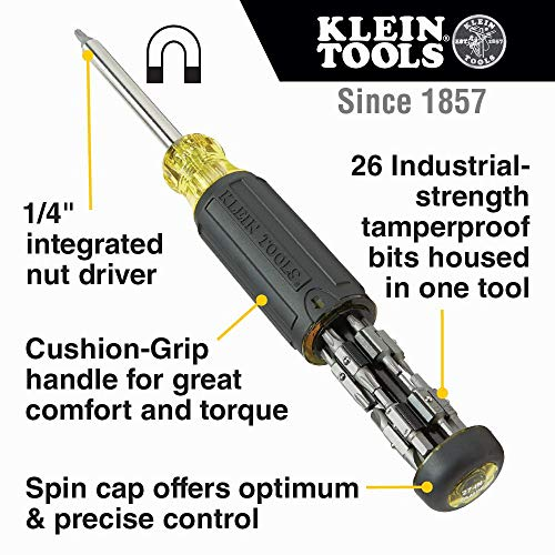 Klein Tools 32307 Multi-bit Tamperproof Screwdriver, 27-in-1 Tool with Torx, Hex, Torq and Spanner Bits with 1/4-Inch Nut Driver