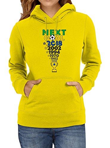 Brasilien Weltmeisterschaft 2018#27 Premium Hoodie Fan Trikot Fußball Weltmeisterschaft Nationalmannschaft Frauen Kapuzenpullover, Farbe:Gelb;Größe:M