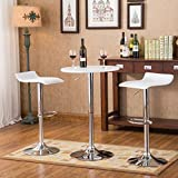 Roundhill Furniture Baxton White Adjustable Height Wood & Chrome Metal bar Table & 2 Chrome Air Lift Adjustable Swivel Stools Set