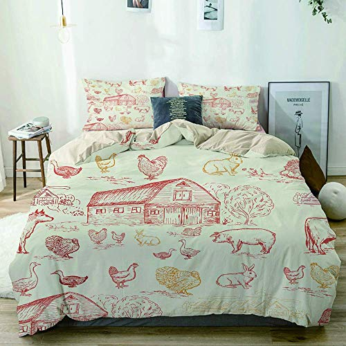 Yoyon Beige Duvet Cover,Farm animals seamless pattern cows geese chickens pigs turkey farm house,3 Pieces Quality Printed Microfiber Bedding Set,Modern Design with Softness Comfortable