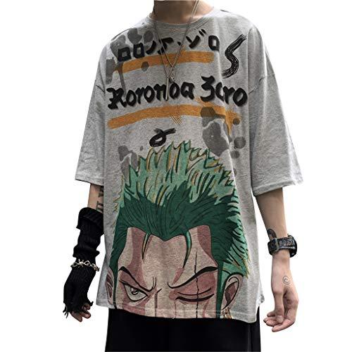 LOOVEE Maglietta One Piece, 3D Luffy Zoro Ace Law Anime Cosplay T Shirt One Piece Manga Moda Casuale Manica Corta Maglietta Tee Maglia Shirt Camicia Camicetta Tops per Uomo Donna (Zoro,L)