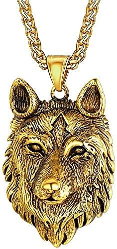 WYPAN Collar Colgante Lobo Celta Nórdico, Vikingo Fenrir Hecho A Mano Amuleto Gótico para Hombres Mujeres, Punk Rock Amuleto Animal Cadena de Joyas,Oro