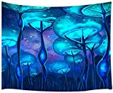 Yhjdcc Tapiz de pared con diseño de setas, diseño psicodélico, color azul mágico, para colgar en la pared, para dormitorio, sala de estar, dormitorio, TV, fondo de 150 cm x 200 cm