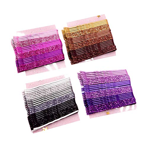 96pcs Glitter Powder Hair Clips Stoving Varnish Hair Pins Bobby Pins Metal Styling Barrettes (Golden, Pink, Purple and Black Each Sheet)