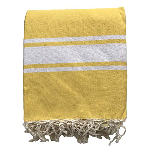 Just a Joy Manta de playa extragrande de algodón (180 x 240 cm) – Toalla Hammam XXL – Amarillo