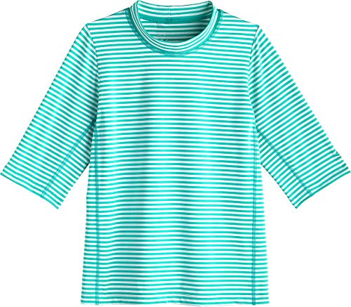 Coolibar UPF 50+ Kid's Sandshark Short Sleeve Surf Shirt - Sun Protective (Medium- Tropical Mint Stripe)