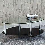 SOULONG Table Basse Ovale en Verre trempé, 3 Niveaux, Pieds en Acier Inoxydable, Noir 90 x 45 x 43 cm